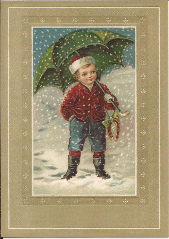 Jongen met paraplu Reliefkaart [SV 6wp046]