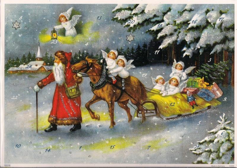 10399 Engeltjes met Kerstman op arreslee Adventskalender
