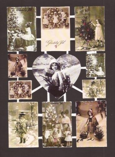 Nostalgische Kerst poëzieplaatjes harten & vierkant ZG