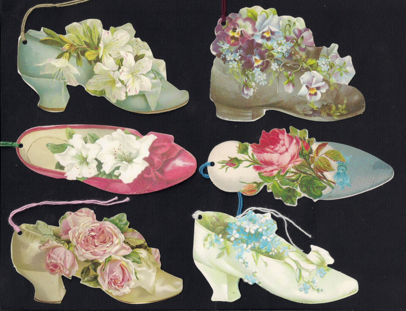 Cadeaulabels Schoentjes vol bloemen 6 stuks