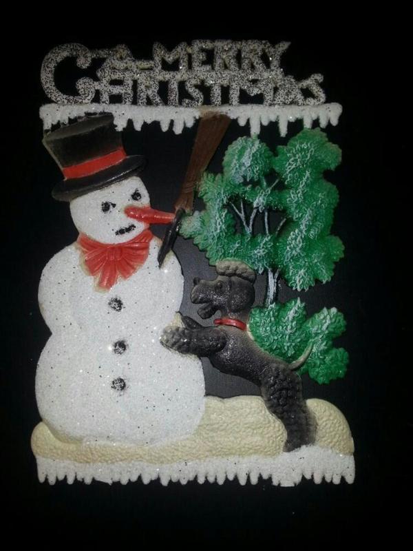 Groot zeer oud poezieplaatje sneeuwpop met hond dik papier