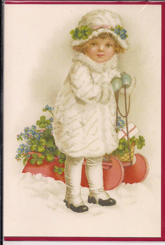 Wintermeisje met slee dubbele kaart met glitter [SV Ug126]