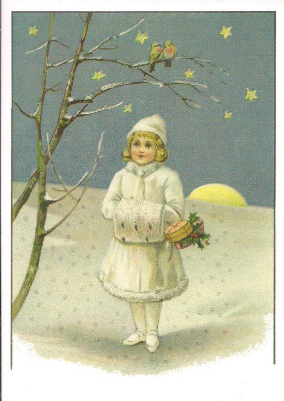 Wintermeisje in kerstlandschap Glitter prentbriefkaart [SV 6Wg020]