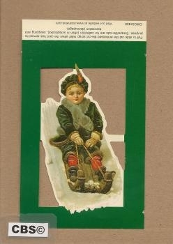 Poezieplaatje Jongetje op nostalgische slee 4460