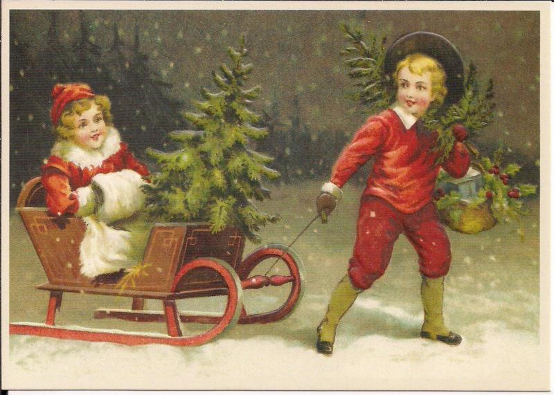 Jongen trekt slee door kerstlandschap Reliefkaart [SV 6Wp048]