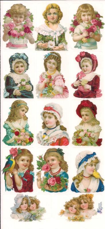 Ouderwetse dames poezieplaatjes Stickers C86