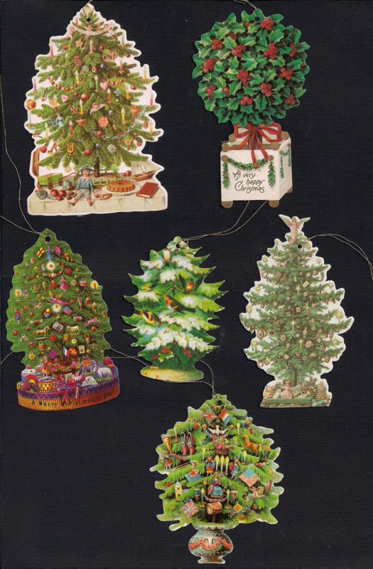 Cadeaulabels Kerstbomen en stukken 6 stuks