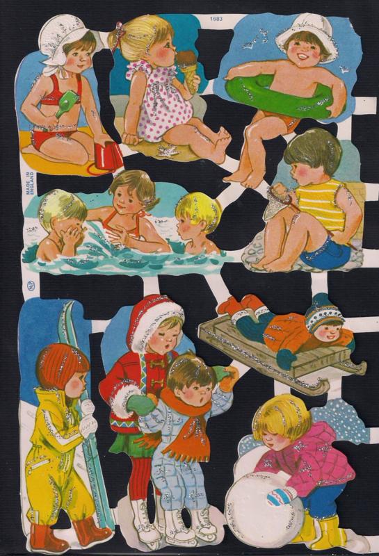 Kinderen inzomer en wintert Zilver Glitter poezieplaatjes MLP 1683