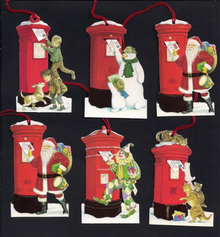 Cadeaulabels Kerstpost bezorgen 6 stuks