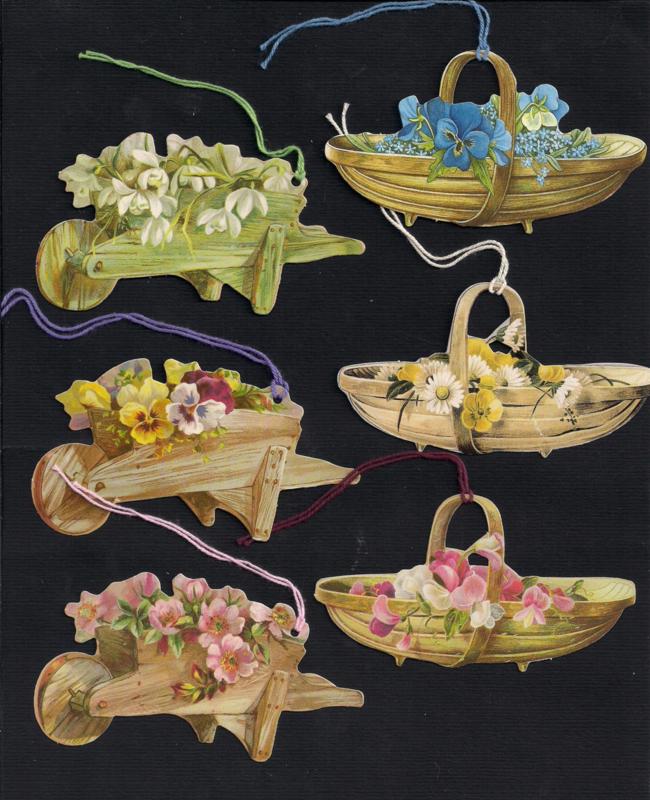 Cadeaulabels Kruitjes en mandjes met bloemen 6 stuks