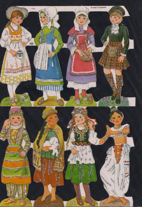 Meisjes in klederdracht Zilver Glitter poezieplaatjes MLP 1669