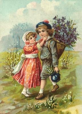 Meisje vind jongen lief met viooltjes Reliefkaart EF 3032