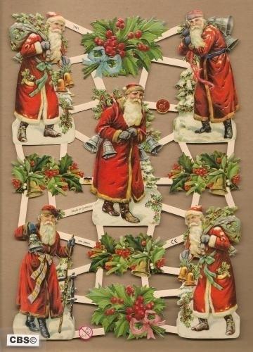 Victoriaanse kerstman met hulst poezieplaatjes 7361