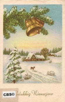 Sneeuwlandschap - oude nieuwjaarskaart met goud [10179]