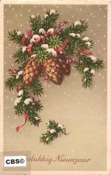 Kersttakken met dennenappels - oude nieuwjaarskaart 1939 [10180]