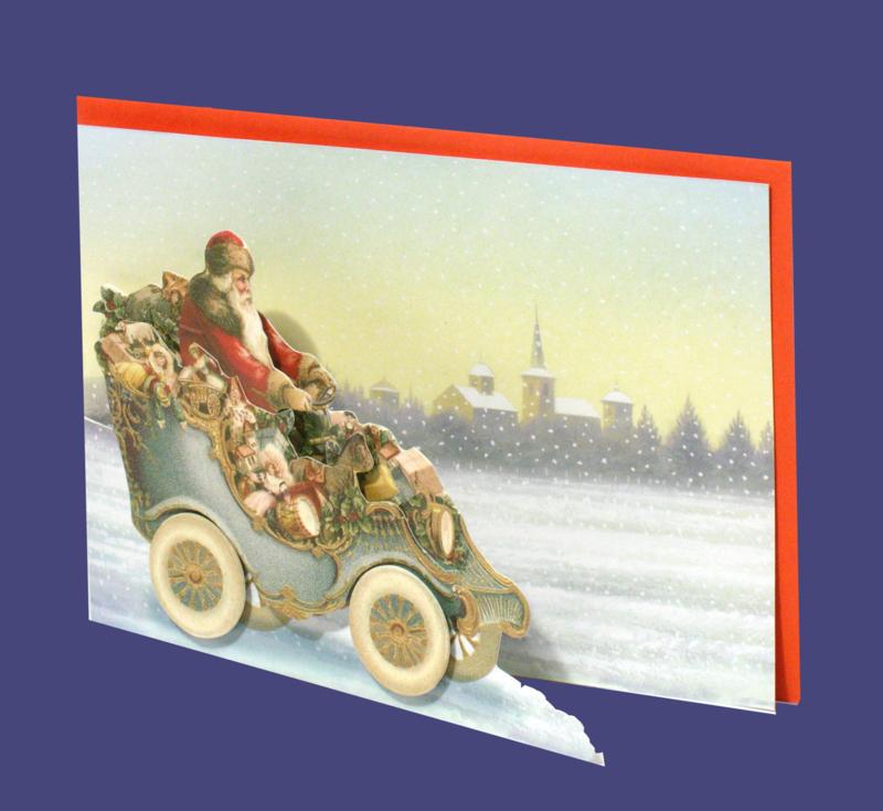 Mini 3D geschenk kaart: Kerstman in auto met cadeau's [XG-5495]