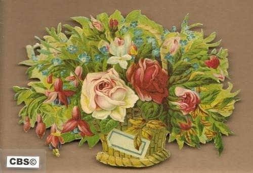 Mand met rozen en fuchsia`s poezieplaatjes 5007