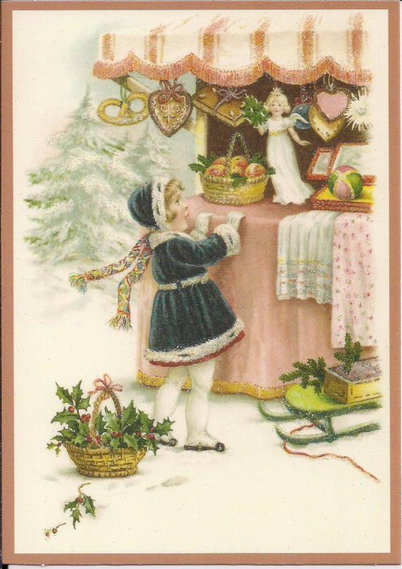 Meisje bij de kerstkraam Glitter prentbriefkaart [SV 6Wg118]