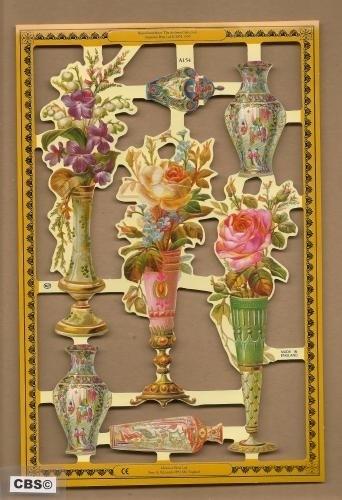 Vaasjes met rozen & viooltjes poezieplaatjes A 154