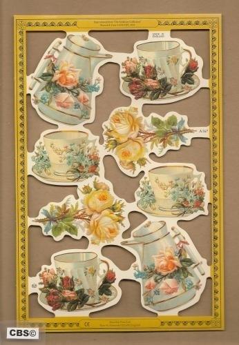 Koffie serviesgoed met Rozen poezieplaatjes A 167