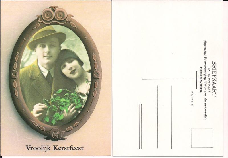 Vrolijk Kerstfeest - vrouw en man met hulsttak - oude kaart