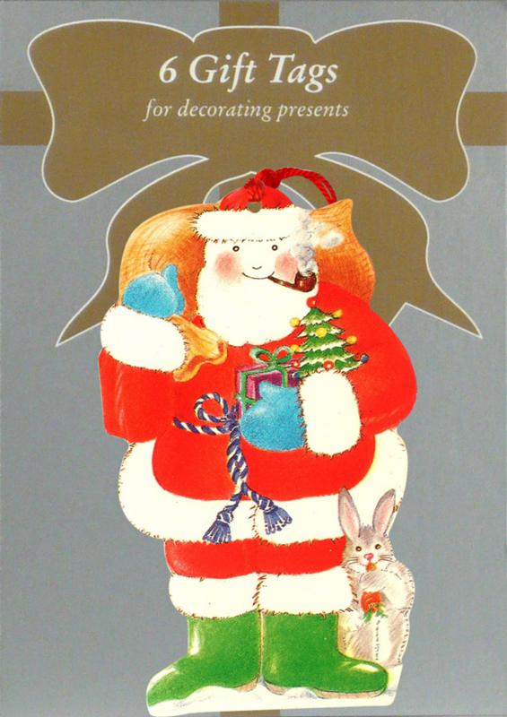 6 Gift Tags: Kerstman met konijn [XT-1233/6]