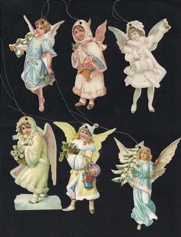 Cadeaulabels Kerst Engelen 6 stuks
