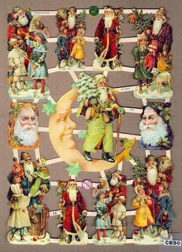 Kerstmannen met maan poëzieplaatjes 7314