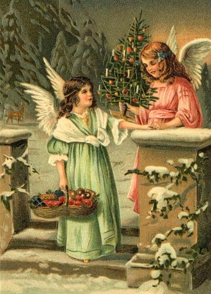 Kerstengelen in de Winternacht Reliefkaart EF 3071