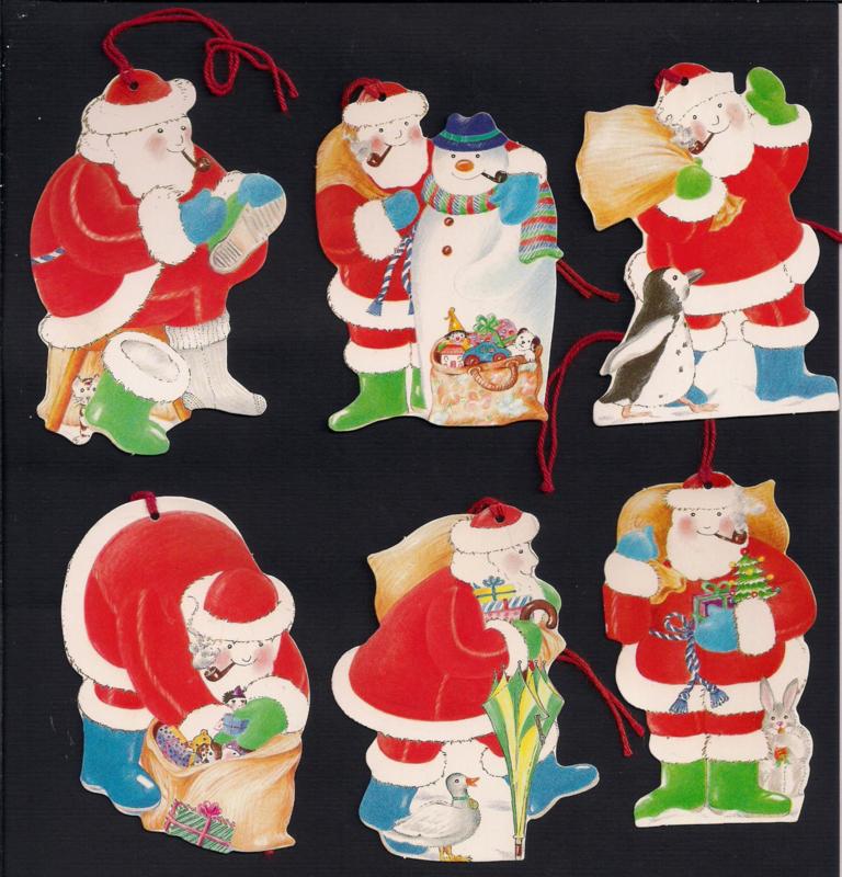 Cadeaulabels Vrolijke kerstmannen 6 stuks