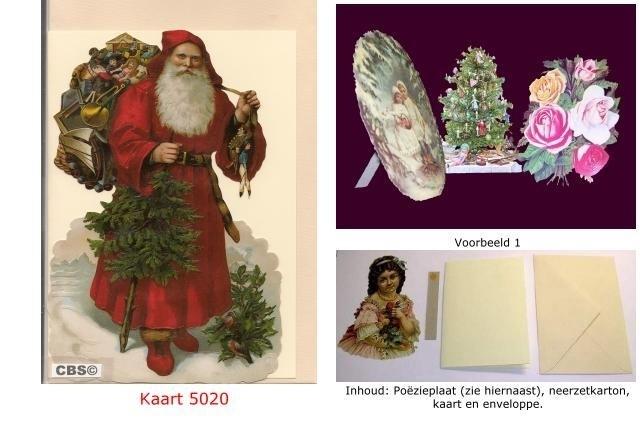 Sierkaart 5020: Kerstman met zak speelgoed Poezieplaatjes