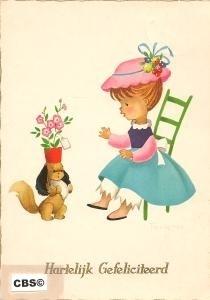 Hondje met cadeau - oude Krüger kaart poezieplaatjes [10227]