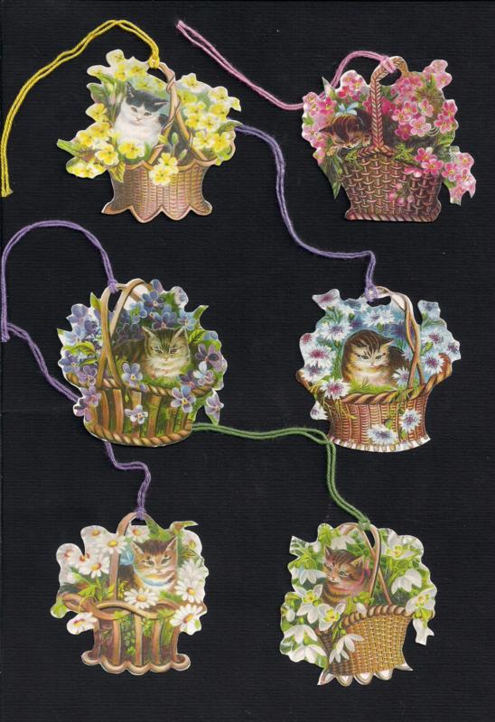 Cadeaulabels poezen in bloemenmandjes 6 stuks