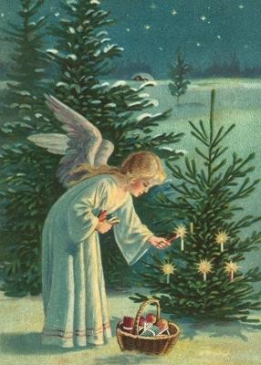 Engelen onsteekt Kerstlichtjes Reliefkaart EF 3011
