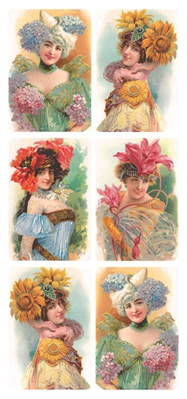 Bloemendames poezieplaatjes Stickers Y175