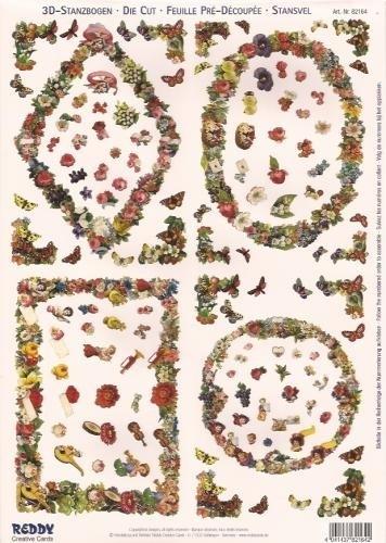 Bloemenlijstjes met vlinders - 82164