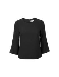 zwarte blouse met trompet mouwen