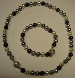 Smalle parelarmband (zwart, grijs, ecru)