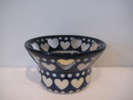Bunzlau Tealight Holder with Heart Shape Holes Blue Valentine