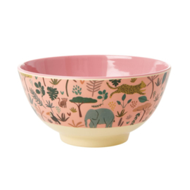 Rice Medium Melamine Bowl - Jungle Print Coral Print *vernieuwd model*