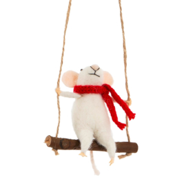 Sass & Belle Swinging Mouse Hanging Felt Decoration