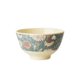 Rice Small Melamine Bowl - Two Tone - Fall Flower Print