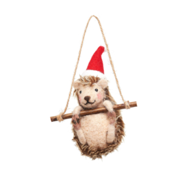 Sass & Belle Hedgehog on Swing Felt Decoration