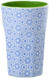 Rice Melamine Two Tone Tall Cup with Blue and White Marrakesh Print