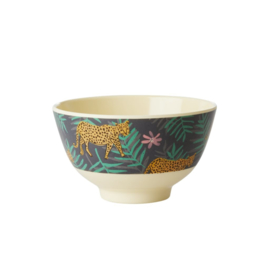 Rice Small Melamine Bowl - Two Tone - Leopard and Leaves Print