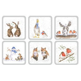 Wrendale Designs Set of 6 Square Christmas Coasters