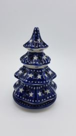 Bunzlau Christmas Tree for Tealight H 15 cm Blue Stars