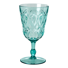 Rice Acrylic Wine Glass with Swirly Embossed Detail - Mint