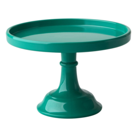 Rice Melamine Cake Stand with Stem - Dark Green - XSmall