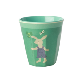 Rice Kids Small Melamine Cup with Green Bunny Print